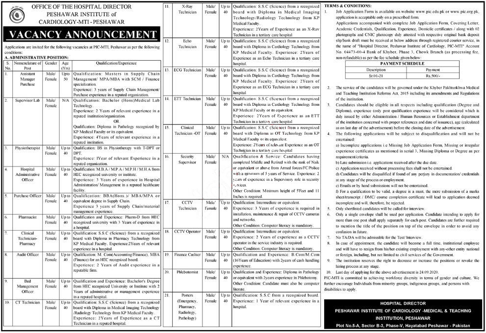 Jobs in Peshawar Institute of Cardiology PIC Technicians 11 September, 2020