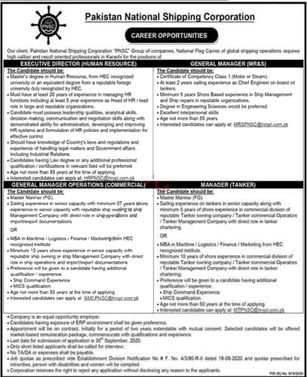 Jobs in PNSC Karachi  for General Manager & Executive Director 14 September, 2020
