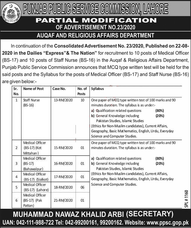 Jobs in PPSC for Medical Officer & Staff Nurse 24 September, 2020