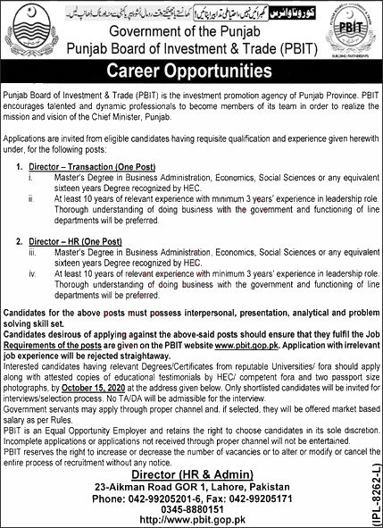 Jobs in Punjab Board of Investment & Trade PBIT Lahore 25 September, 2020