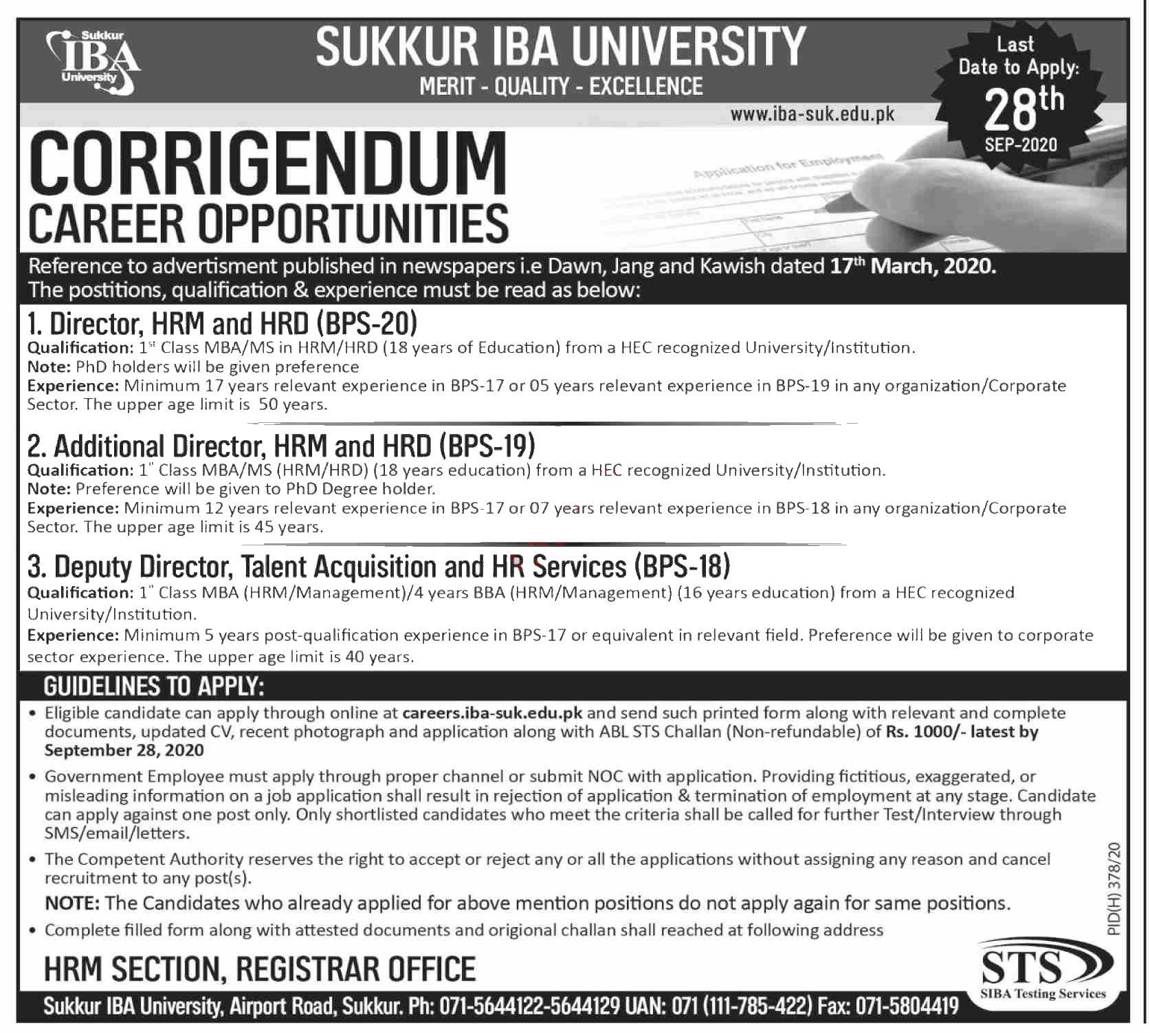 Jobs in Sukkur IBA University for Directors 10 September, 2020