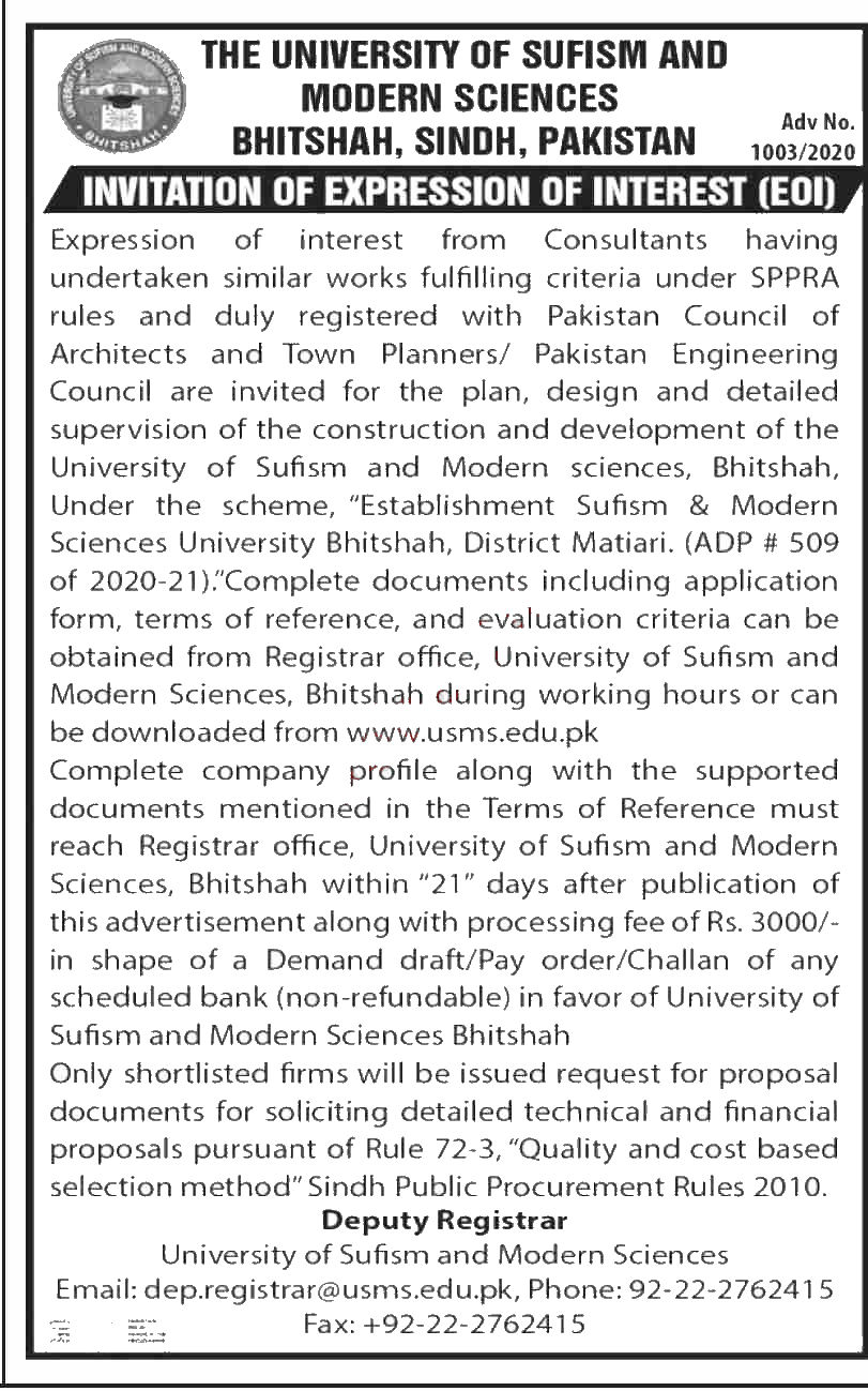Jobs in University of Sufism & Modern Sciences USMS Bhitshah 10 September, 2020