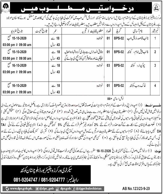 Jobs in Workers Welfare Board Balochistan for Naib Qasid 24 September, 2020