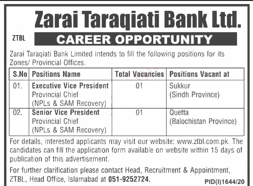 Jobs in ZTBL for Executive Vice President 30 September, 2020