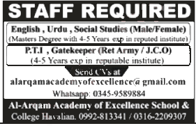Jobs in Al Arqam Academy of Excellence College Havelian 08 October, 2020