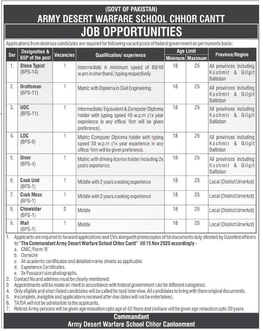 Jobs in Army Desert Warfare School Chhor Cantt 26 October, 2020
