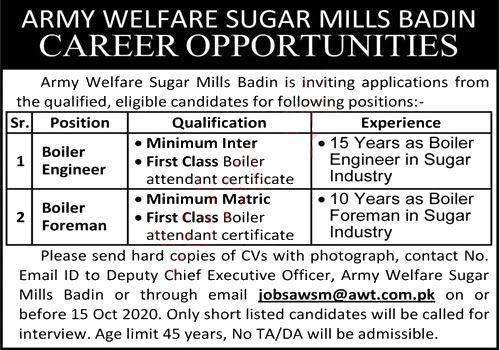 Jobs in Army Welfare Sugar Mills AWT Badin for Engineer 10 October, 2020