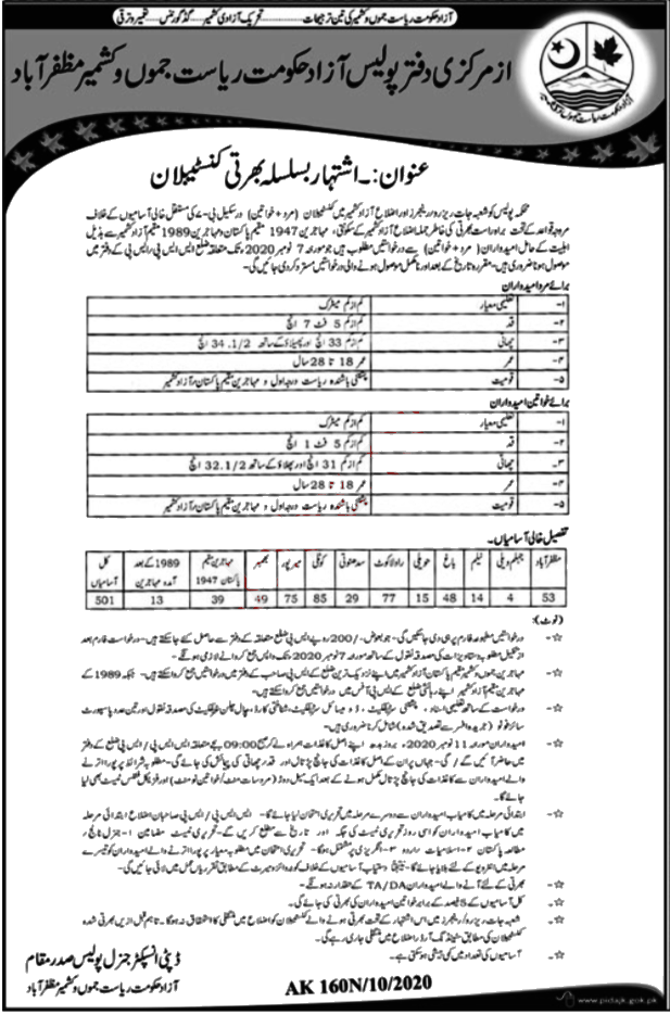 Jobs in Azad Jammu & Kashmir Police for Constables 10 October, 2020