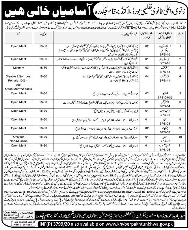 Jobs in Board of Intermediate & Secondary Education Malakand 15 October, 2020