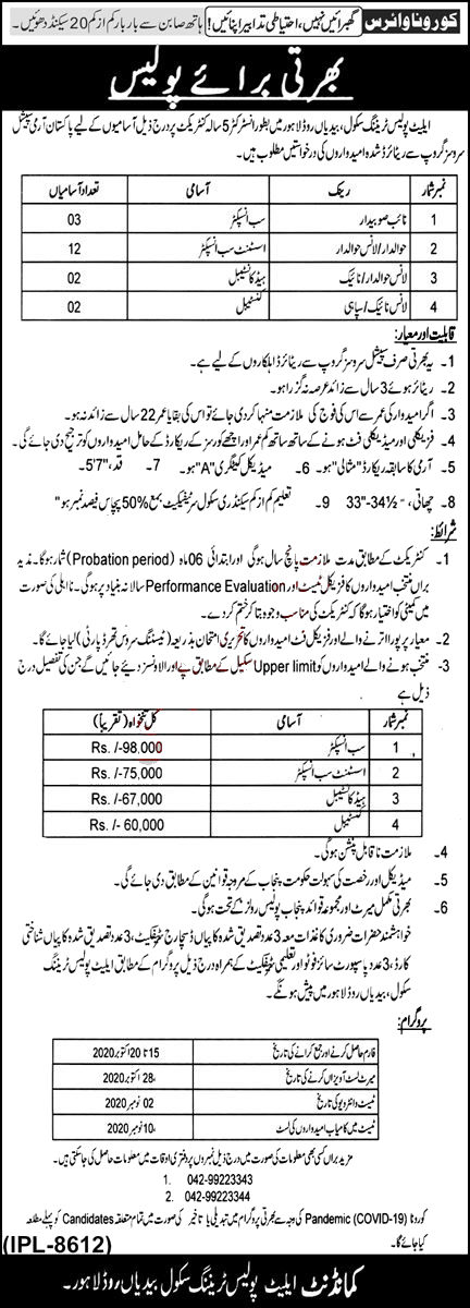 Jobs in Elite Police Training School Lahore for Instructor 07 October, 2020