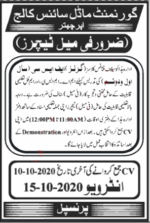 Jobs in Government Model Science College Upper Chatter 02 October, 2020