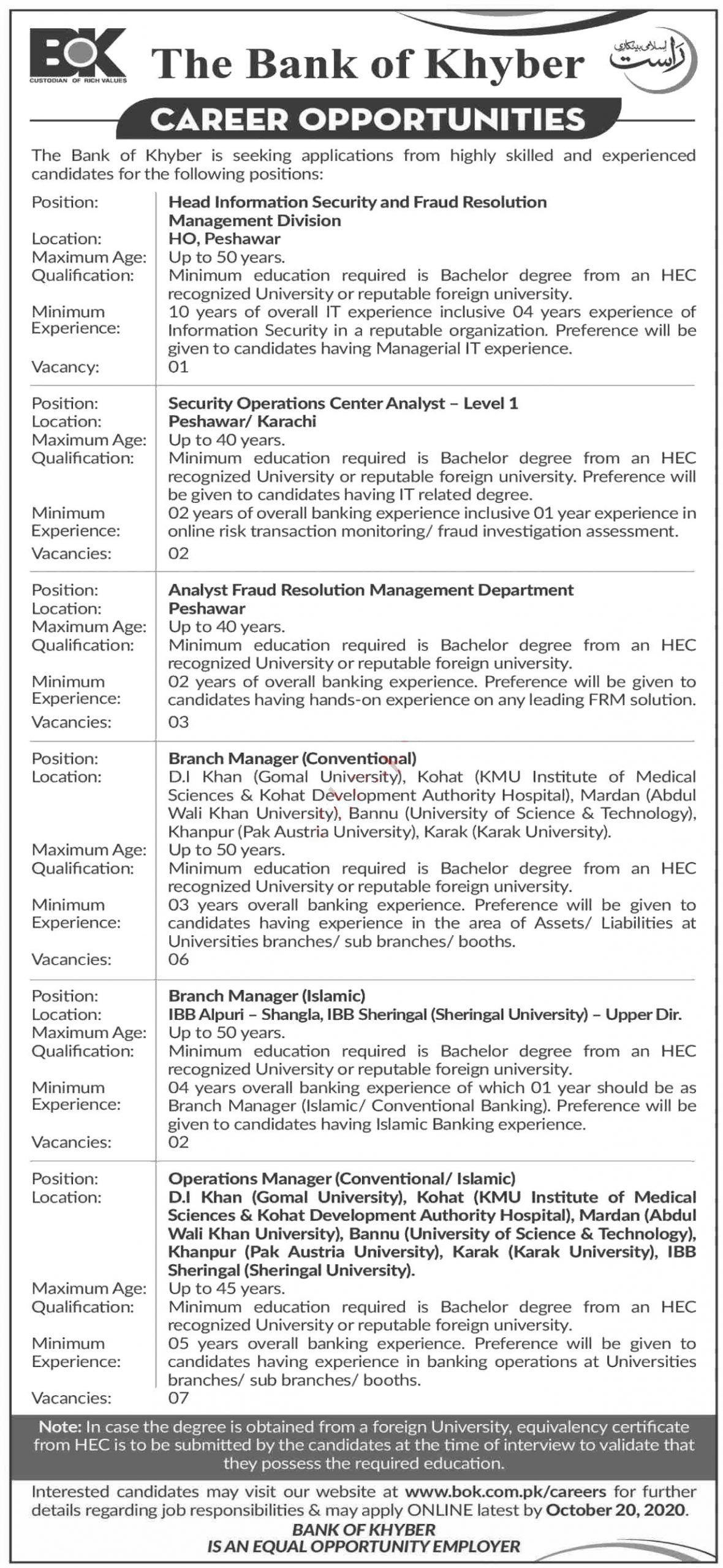Jobs in Head Information Security  in The Bank of Khyber BOK 06 October, 2020