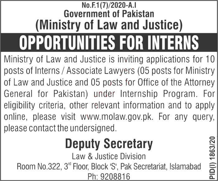 Jobs in Law & Justice Division Islamabad Islamabad 09 October, 2020