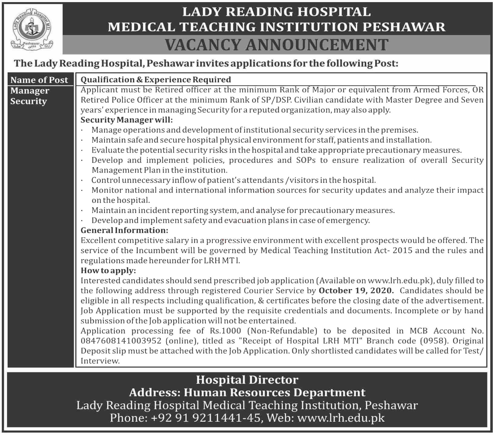 Jobs in Manager Security in Lady Reading Hospital LRH MTI 04 October, 2020