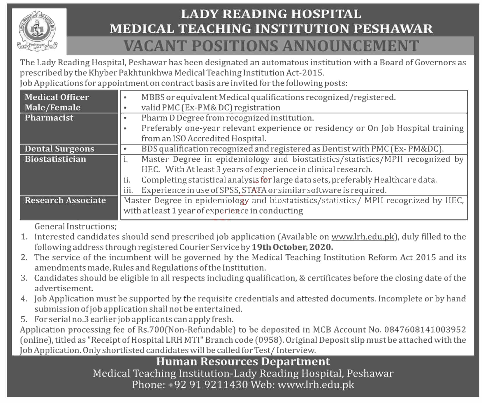 Jobs in Medical Officer & Research Associate in LRH Peshawar 04 October, 2020