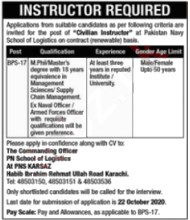 Jobs in Pakistan Navy School of Logistics & Management Karachi 16 October, 2020