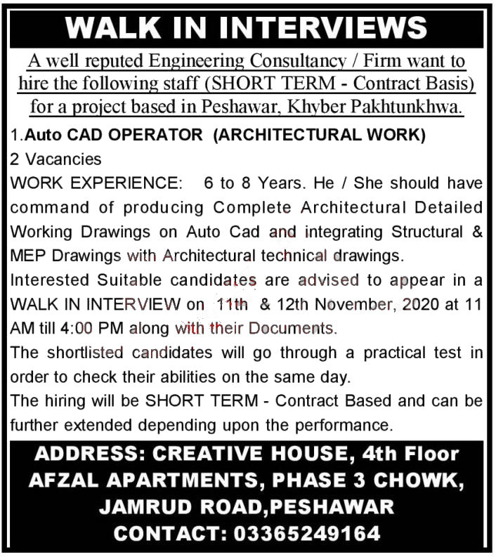 Jobs in Auto CAD Operator & Draftsman in Peshawar 11 November, 2020