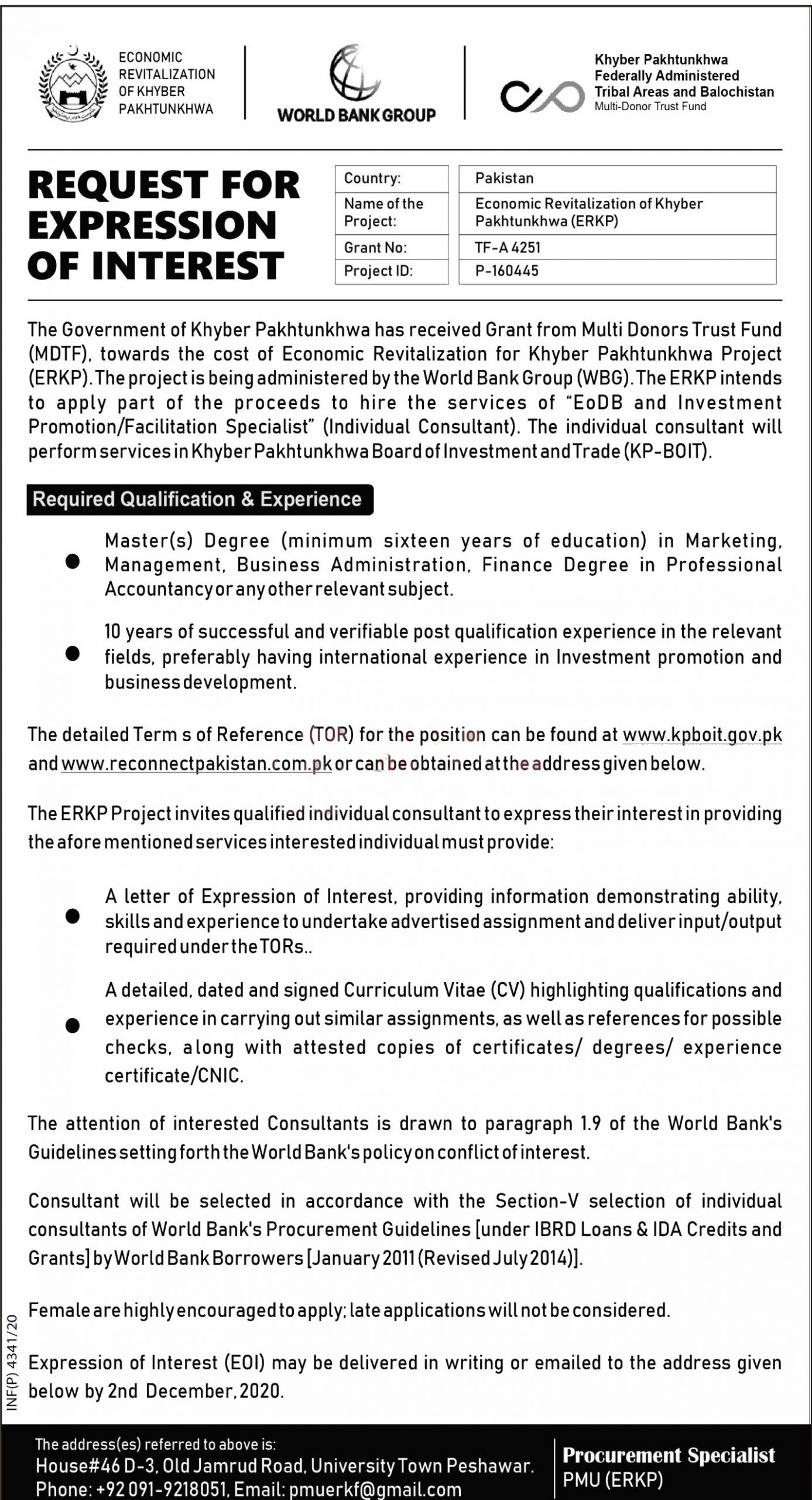 Jobs in Economic Revitalization of Khyber Pakhtunkhwa ERKP 17 November, 2020