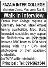 Jobs in Fazaia Inter College FIC Peshawar Cantt Interview 06 November, 2020