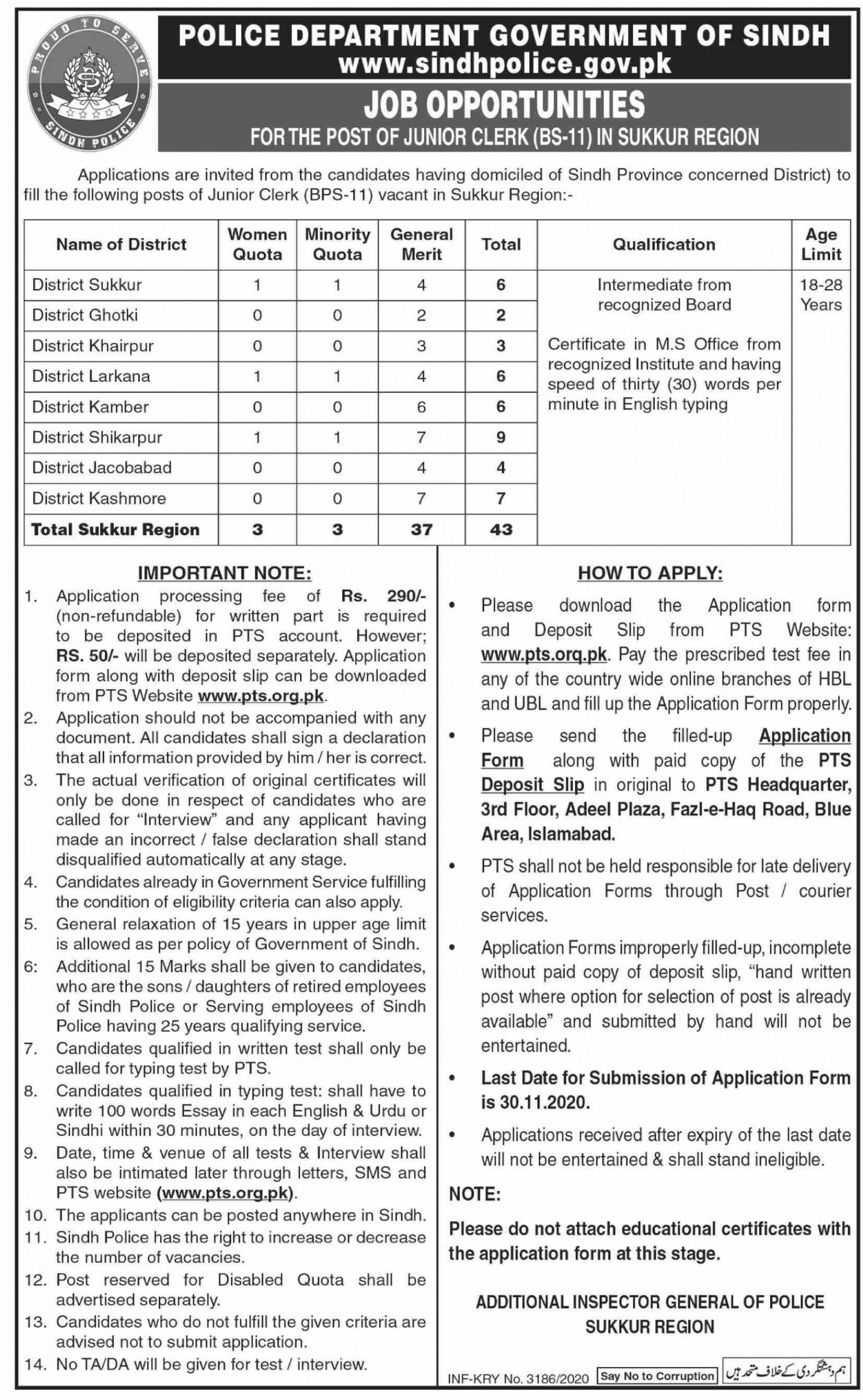Jobs in Government of Sindh Police Department 16 November, 2020