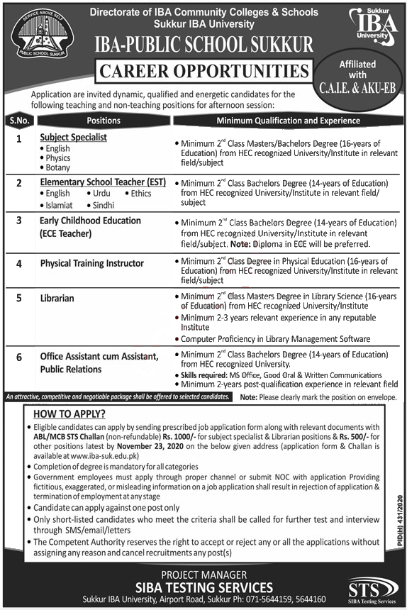 Jobs in IBA Public School Sukkur for Teaching Staff 09 November, 2020
