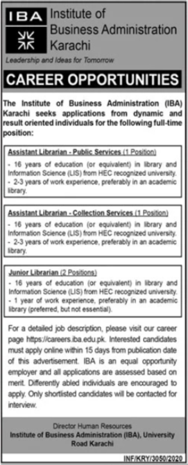 Jobs in Institute of Business Administration IBA in Karachi 09 November, 2020