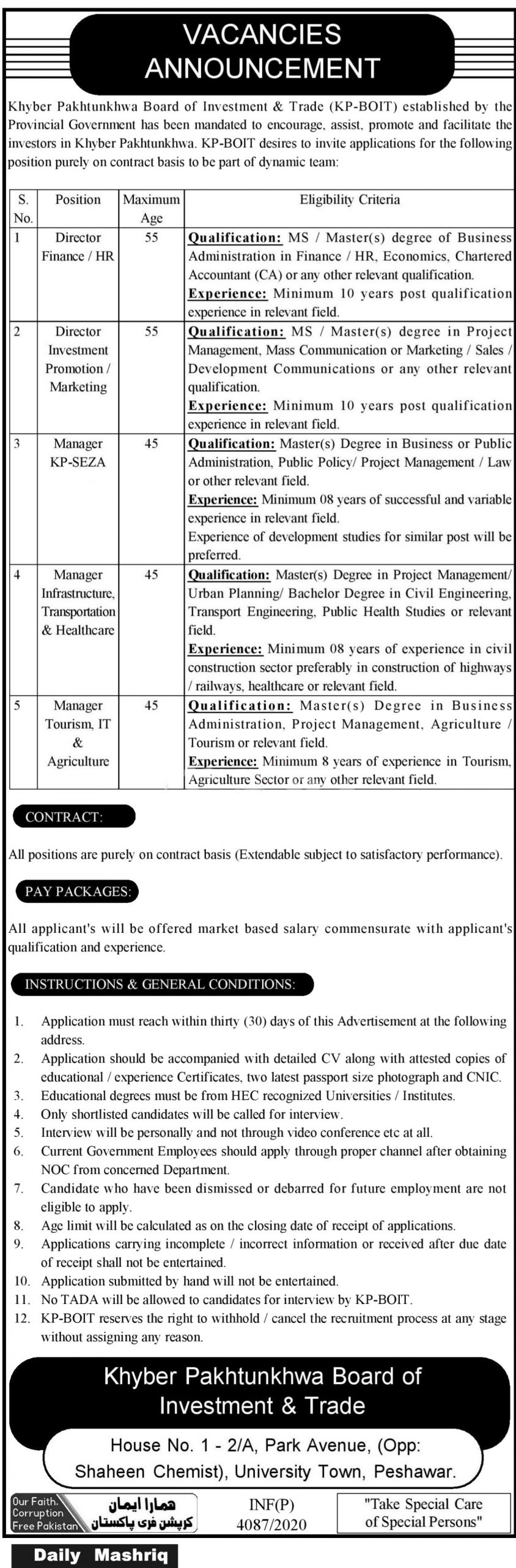 Jobs in KP BOIT Board of Investment & Trade Peshawar 11 November, 2020