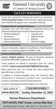 Jobs in National University of Computer & Emerging Sciences 16 November, 2020