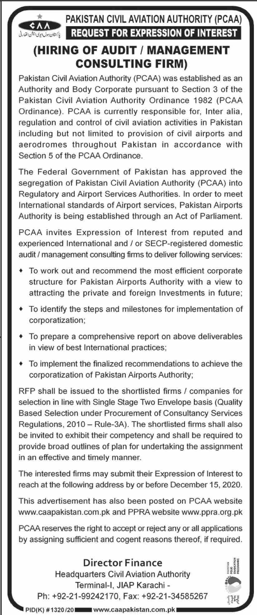 Jobs in Pakistan Civil Aviation Authority PCAA Karachi 16 November, 2020