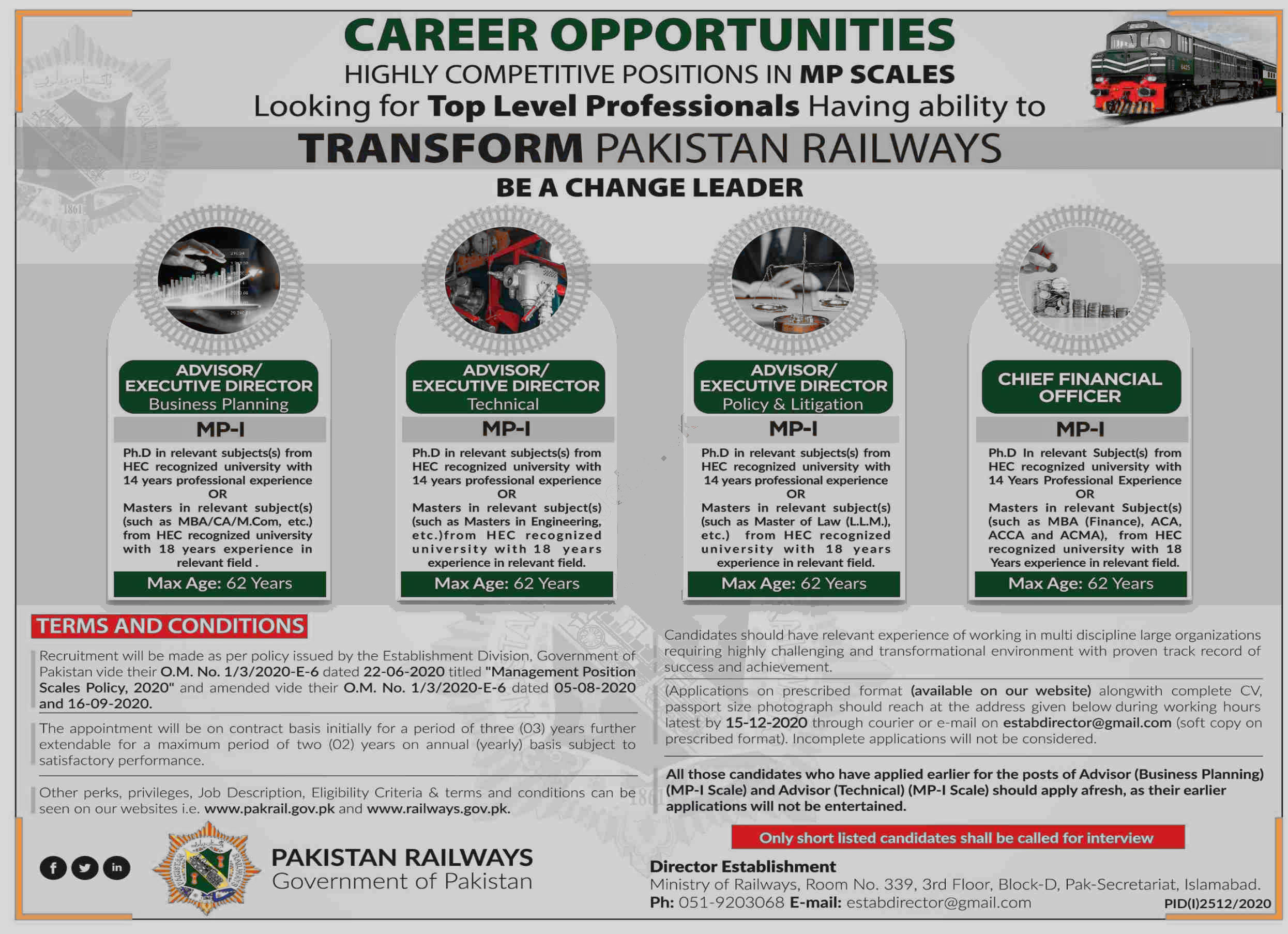 Jobs in Pakistan Railways Islamabad for Executive Director 12 November, 2020