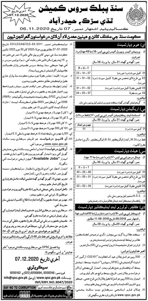 Jobs in SPSC Consolidated Advertisement No 7, 09 November, 2020