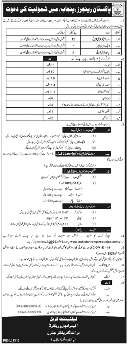 Jobs in Sub Inspector & Sepoy in Pakistan Rangers Punjab 06 November, 2020