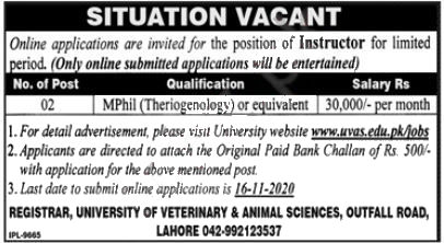 Jobs in UVAS University Lahore for Instructor 10 November, 2020