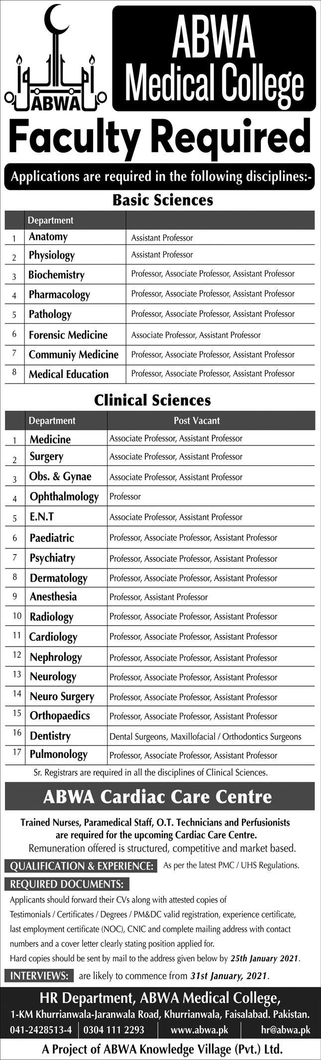 Assistant Professor (BPS-19) Jobs in ABWA Medical College 21 Jan 2021