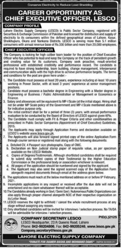 Chief Executive Officer (MP-1) Jobs in Lahore Electric Supply Company 26 Jan 2021
