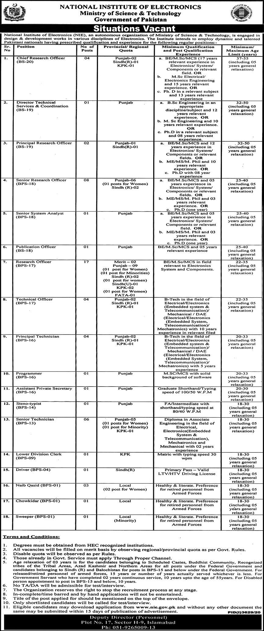Chief Research Officer (BS-20) Jobs in National Institute of Electronics 17 Jan 2021