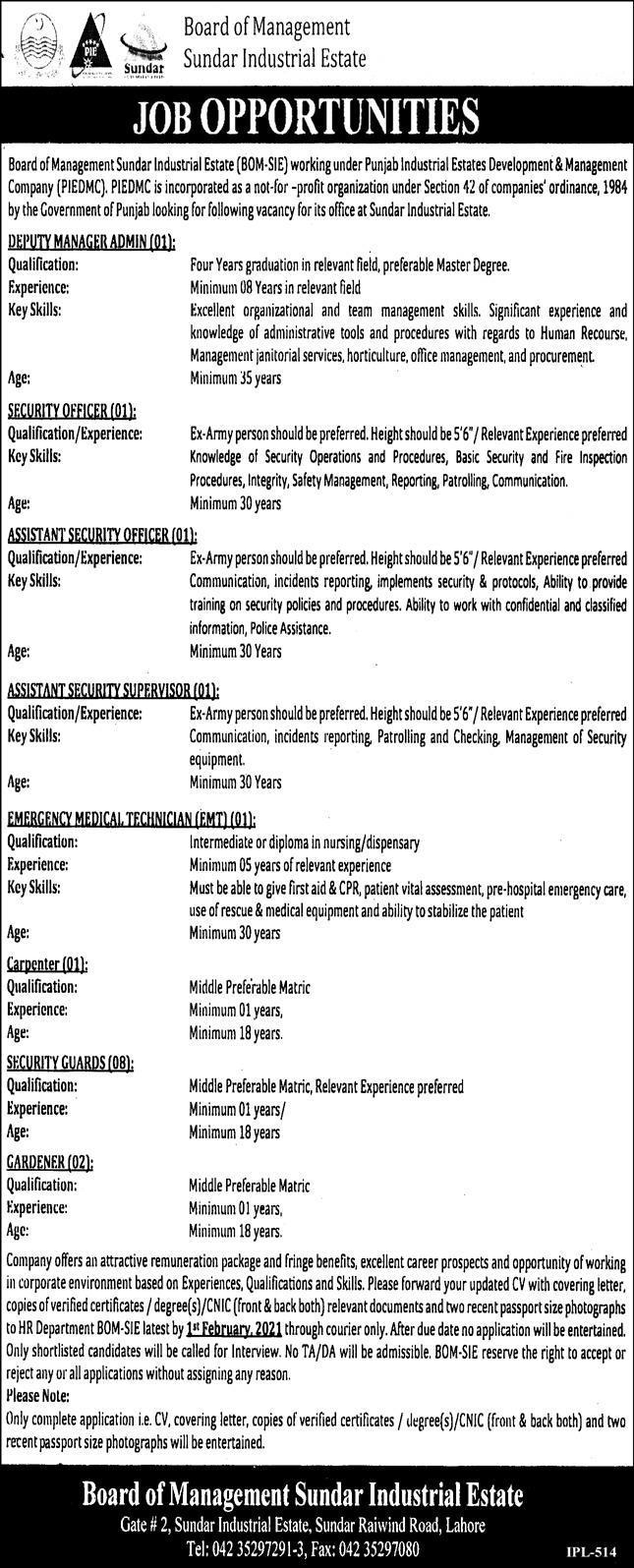 Deputy Manager Admin Jobs in Board of Management Sundar Industrial Estate 21 Jan 2021