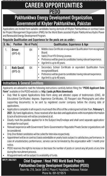 Driver (BPS-06) Jobs in Pakhtunkhwa Energy Development Organization (PEDO) 21 Jan 2021