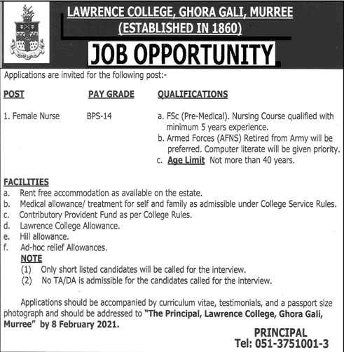 Female Nurse (BPS-14) Jobs in Lawrence College Ghora Gali Murree 26 Jan 2021