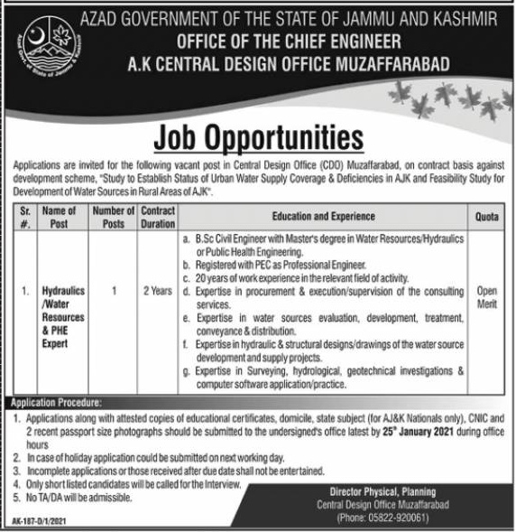 Hydraulics Jobs in Office of the Chief Engineer 17 Jan 2021