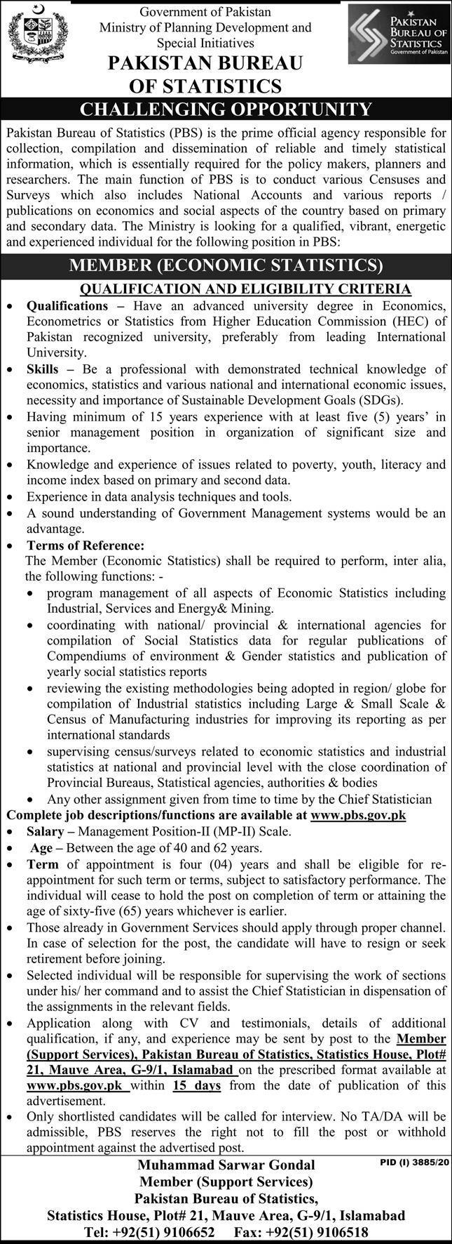 Member (Ecnomics Statistics) Jobs in Pakistan Bureau of Statistics 26 Jan 2021