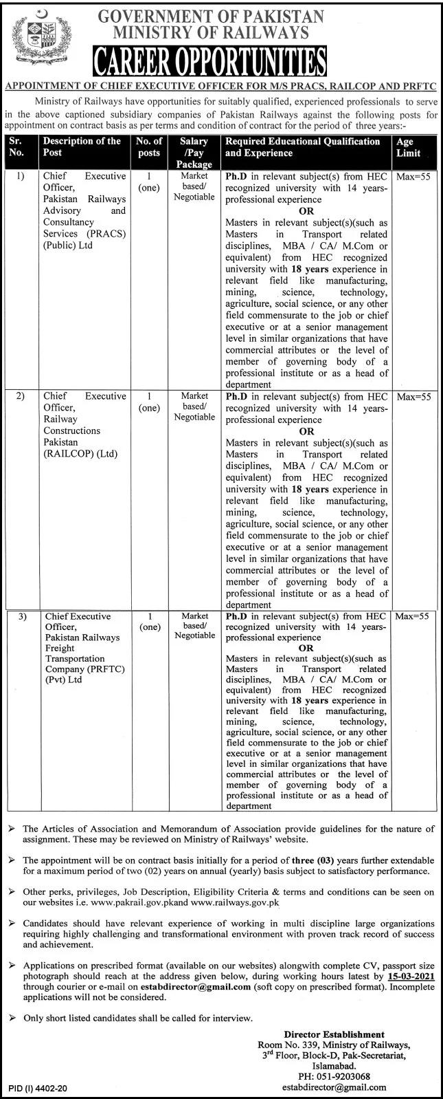 Jobs in Ministry of Railways 20 February 2021