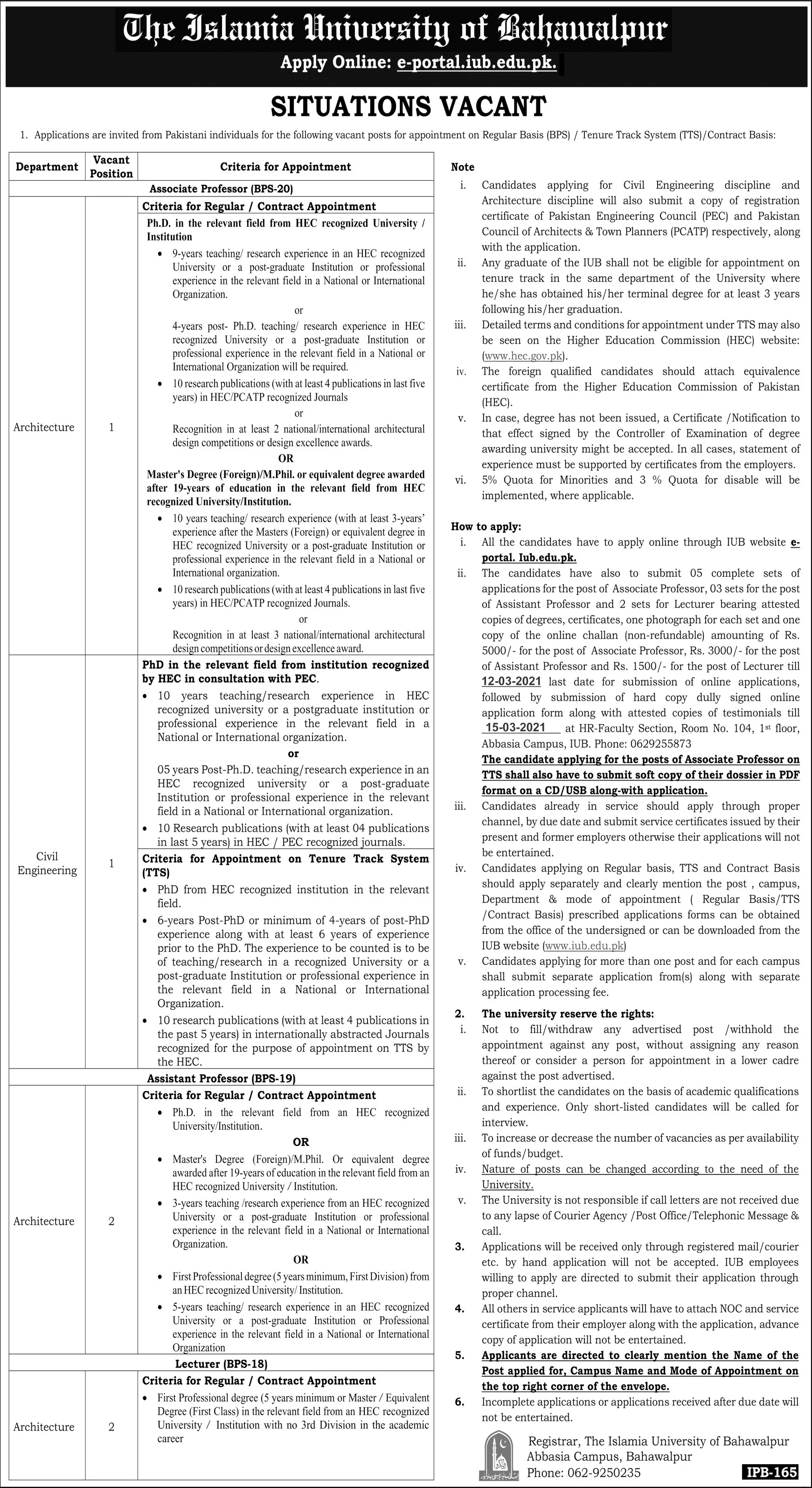 Jobs in Islamia University of Bahawalpur 22 February 2021