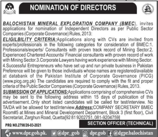 Jobs in Balochistan Mineral Exploration Company BMEC 2021 For Directors in Quetta Balochistan
