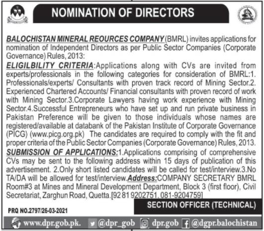 Jobs in Balochistan Mineral Resource Company 2021 For Directors in Quetta Balochistan