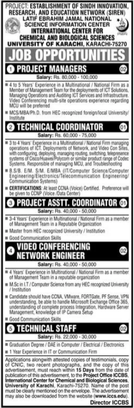 Jobs in International Center For Chemical & Biological Sciences ICCBS in Karachi 2021