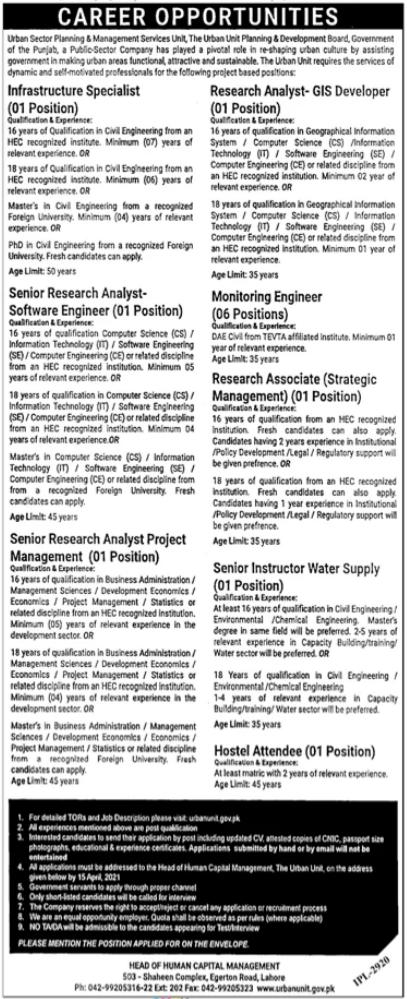 Jobs in Urban Unit in Lahore 2021