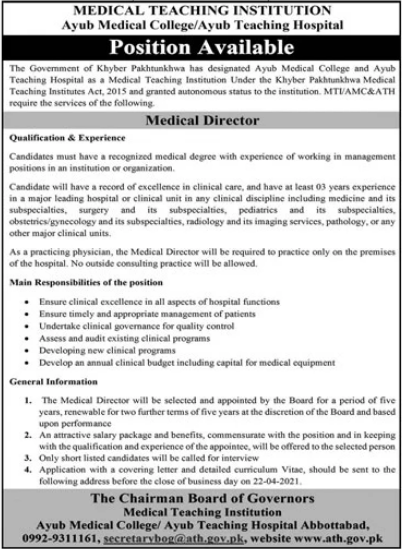 Jobs in Ayub Medical College / Ayub Teaching Hospital MTI in Abbottabad KPK 2021