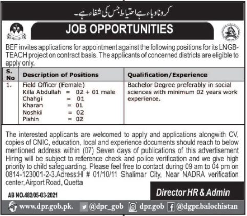 Jobs in Balochistan Education Foundation BEF For Field Officers 2021