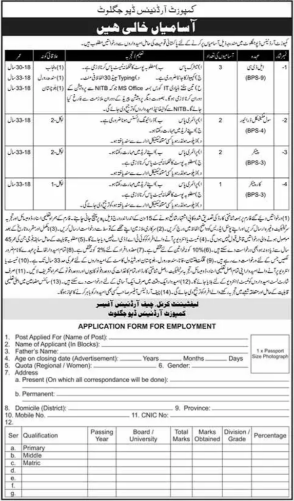 Jobs in Composite Ordnance Depot Juglot 2021